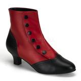 Negro Rojo 5 cm FLORA-1023 Botines Altos Mujer