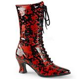 Negro Rojo 7 cm VICTORIAN-120BL Botines de Cordones Altos Mujer