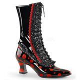 Negro Rojo 7 cm VICTORIAN-122 Botines de Cordones Altos Mujer