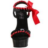 Negro Rojo Charol 15 cm DELIGHT-615 Tacón de Aguja Stiletto Zapatos