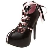 Negro Rosa 14,5 cm Burlesque TEEZE-13 Zapatos de tacón altos mujer