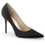 Negro Satinado 10 cm CLASSIQUE-20 Stiletto Zapatos Tacon de Aguja