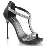 Negro Satinado 11,5 cm CHIC-21 Sandalias Femininas Planos