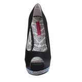 Negro Satinado 13,5 cm BELLA-12R Strass Plataforma Zapato Salón