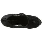Negro Satinado 13,5 cm BELLA-26 Strass Plataforma Zapato Salón
