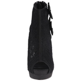 Negro Satinado 13,5 cm BELLA-28 Peep Toe Plataforma Botines Altos