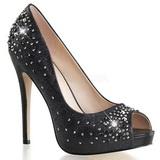 Negro Satinado 13 cm HEIRESS-22R Strass Plataforma Zapato Salón
