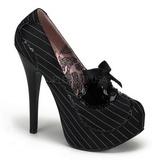 Negro Satinado 14,5 cm BORDELLO TEEZE-01 Plataforma Zapatos de Salón