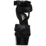 Negro Satinado 15 cm DELIGHT-668 Sandalias Altos de Noche con Tacón