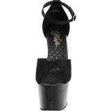 Negro Satinado 18 cm Pleaser ADORE-768 Plataforma Tacones de Aguja