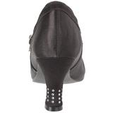 Negro Satinado 8 cm FLAPPER-20 Calzado de Salón Planos Tacón