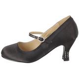 Negro Satinado 8 cm FLAPPER-20 zapatos de salón tacón bajo