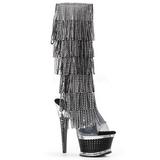 Negro Strass 16,5 cm ILLUSION-2017RSF botas con flecos de mujer tacón altos