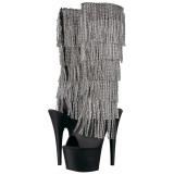 Negro Strass 18 cm ADORE-2024RSF botas con flecos de mujer tacón altos