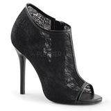 Negro Tejido 13 cm AMUSE-56 Zapato Salón de Noche con Tacón