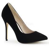 Negro Terciopelo 13 cm AMUSE-20 Stiletto Zapatos Tacón de Aguja