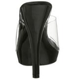 Negro Transparente 13 cm Fabulicious LIP-101 Plataforma Mules Altos