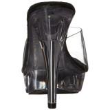 Negro Transparente 14 cm COCKTAIL-501 Plataforma Mules Altos