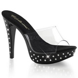 Negro Transparente 14 cm COCKTAIL-501SDT Mules Strass Altos