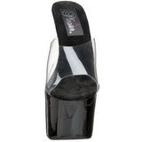 Negro Transparente 18 cm PLEASER SKY-301 Plataforma Mules Altos