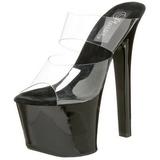 Negro Transparente 18 cm SKY-302 Plateau Mulas Tacones Altos Mujer