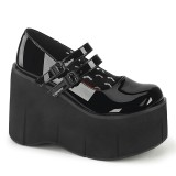 Negro Vegano 11,5 cm DEMONIA KERA-08 zapatos de salón mary jane plataforma