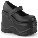 Negro Vegano 15 cm WAVE-32 zapatos de salón mary jane plataforma cuña alta