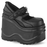 Negro Vegano 15 cm WAVE-48 zapatos de salón mary jane plataforma cuña alta