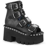 Negro Vegano 9 cm ASHES-70 lolita botines tacón ancho plataforma