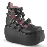 Negro Vegano 9 cm DEMONIA VIOLET-45 zapatos de salón mary jane plataforma