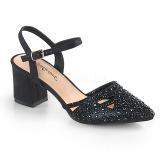 Negro brillo 7 cm Fabulicious FAYE-06 sandalias de tacón alto