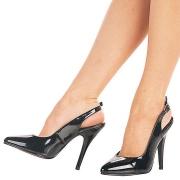 Negro charol 13 cm SEDUCE-317 slingback zapatos de salón puntiagudos