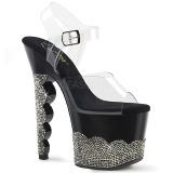 Negro piedra strass 18 cm SCALLOP-708-2RS Zapatos con tacones pole dance