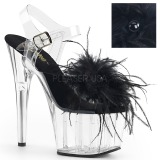 Negro plumas de marabu 18 cm ADORE-708MF Zapatos pole dance
