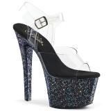 Negro purpurina 18 cm Pleaser SKY-308LG Zapatos con tacones pole dance