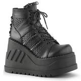 Negros 12 cm STOMP-12 lolita zapatos góticos calzados con cuña alta