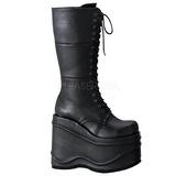 Negros 15 cm WAVE-302 lolita botas góticos botas con suela gruesa