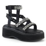 Negros 5 cm Demonia EMILY-120 zapatos plataforma gladiador