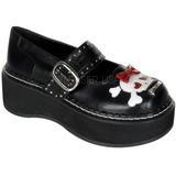 Negros 5 cm EMILY-221 lolita zapatos mujer calzados góticos suela gruesa