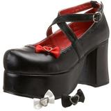 Negros 9,5 cm ABBEY-03 lolita zapatos góticos calzados con suela gruesa