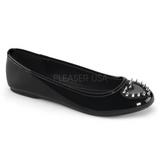 Negros Charol STAR-24 góticos zapatos de bailarina planos tacón