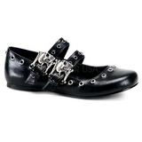 Negros DAISY-03 góticos zapatos de bailarina planos tacón
