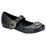 Negros DAISY-09 góticos zapatos de bailarina planos tacón