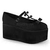 Negros lona 8 cm CLICK-08 zapatos góticos calzados suela gruesa
