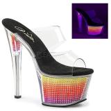 Neon 18 cm SKY-302SRS Piedras strass plataforma zuecos mujer