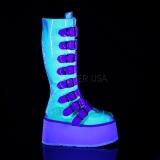 Neon 9 cm DAMNED-318 plataforma botas de mujer con hebillas