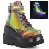 Neon arco iris 11,5 cm SHAKER-52 lolita botines cuña alta plataforma