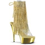 Oro 15,5 cm DELIGHT-1017RSF botines con flecos de mujer tacón altos
