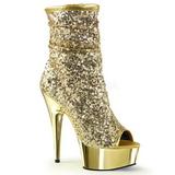 Oro 15 cm DELIGHT-1008SQ botines con lentejuelas de mujer