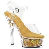 Oro 15 cm KISS-208GF brillo plataforma sandalias de tacón alto